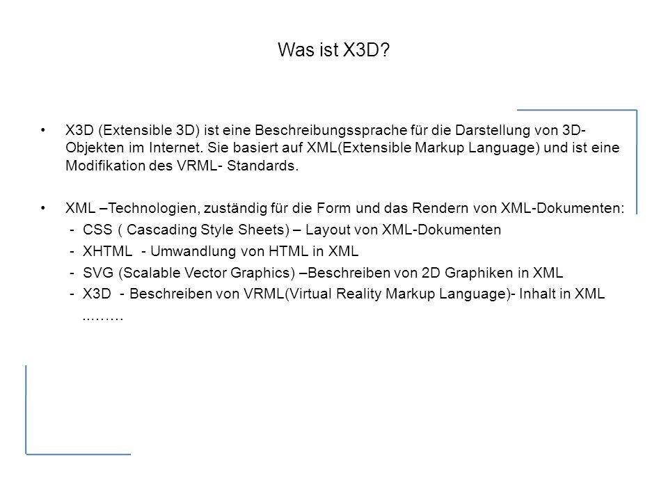 Historischer Hintergrund W3C-World Wide Web Consortium- einheitliche Technologien, Richtlinien und Standards (www.w3c.de) Mitte der 90er Jahre - Virtual Reality Markup Language (VRML, sprich Wörmel ) etabliert.