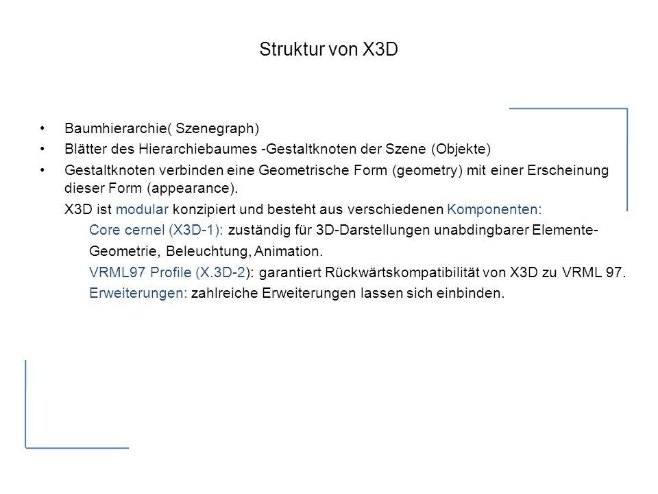 Struktur von X3D Baumhierarchie( Szenegraph) Blätter des Hierarchiebaumes -Gestaltknoten der Szene (Objekte) Gestaltknoten verbinden eine Geometrische Form (geometry) mit einer Erscheinung dieser Form (appearance).