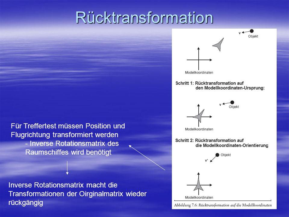 Rücktransformation Für Treffertest müssen Position und Flugrichtung transformiert werden - Inverse Rotationsmatrix des Raumschiffes wird benötigt Inve