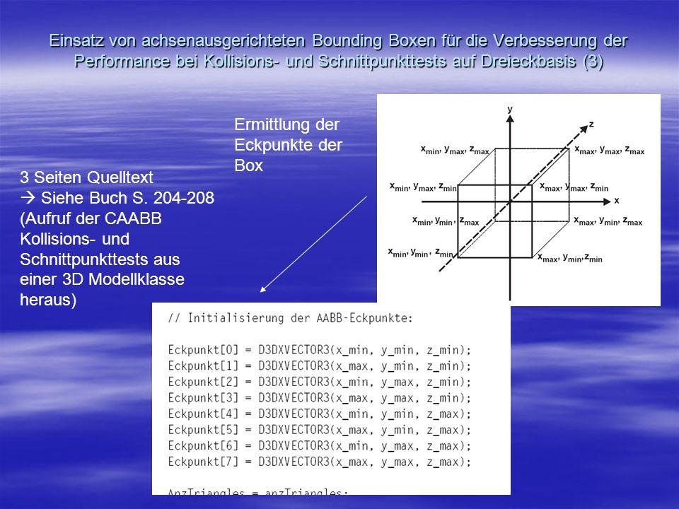 Einsatz von achsenausgerichteten Bounding Boxen für die Verbesserung der Performance bei Kollisions- und Schnittpunkttests auf Dreieckbasis (3) Ermitt