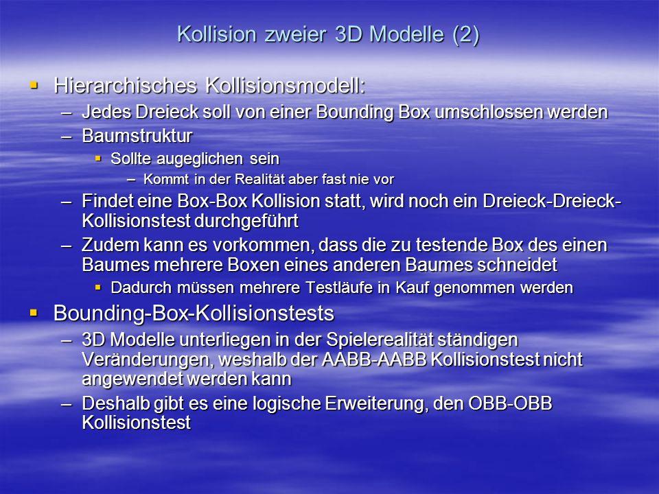 Kollision zweier 3D Modelle (2) Hierarchisches Kollisionsmodell: Hierarchisches Kollisionsmodell: –Jedes Dreieck soll von einer Bounding Box umschloss