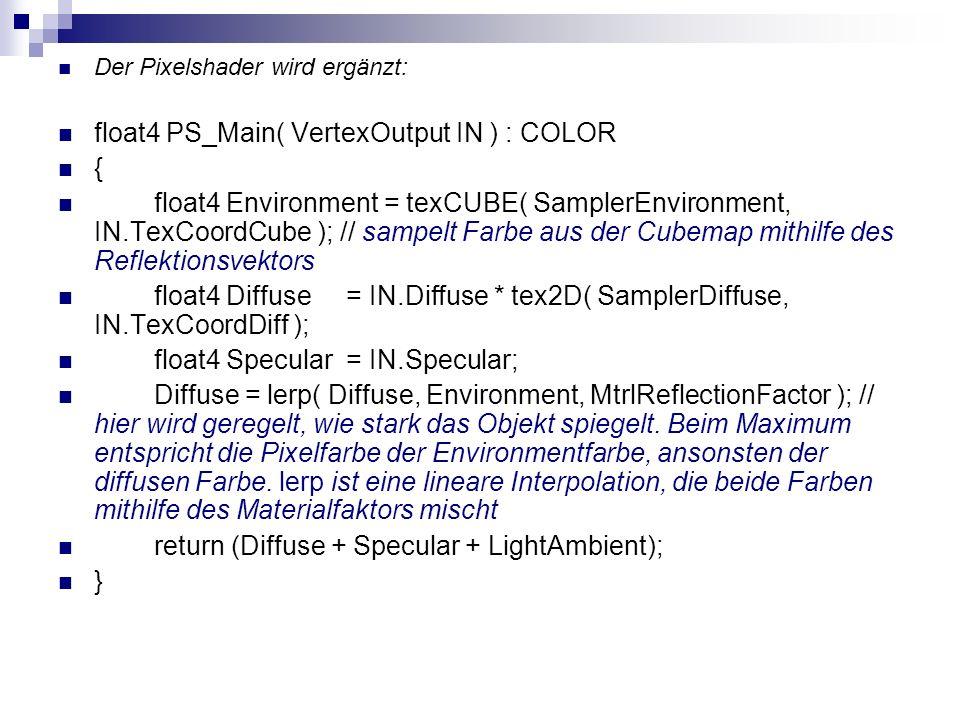 Der Pixelshader wird ergänzt: float4 PS_Main( VertexOutput IN ) : COLOR { float4 Environment = texCUBE( SamplerEnvironment, IN.TexCoordCube ); // samp