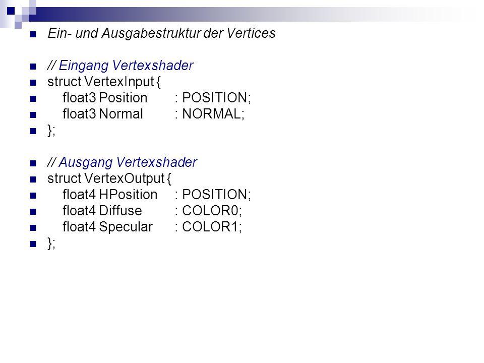 Ein- und Ausgabestruktur der Vertices // Eingang Vertexshader struct VertexInput { float3 Position: POSITION; float3 Normal: NORMAL; }; // Ausgang Ver