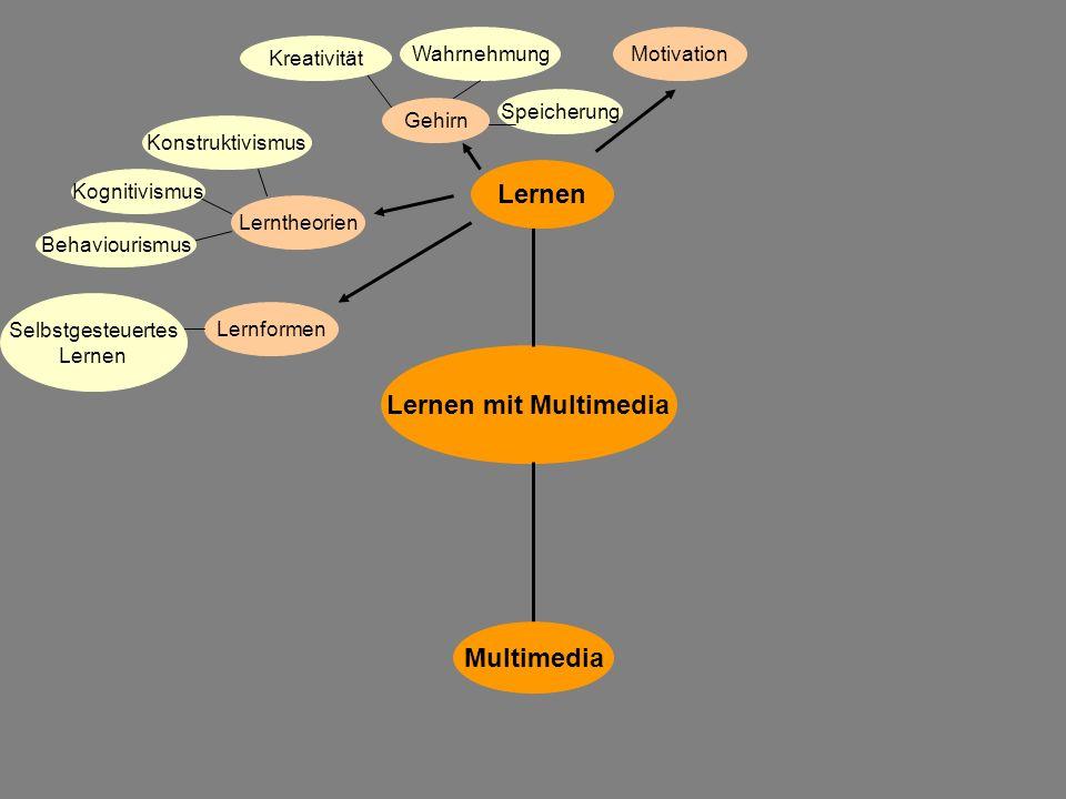Lernen mit Multimedia Multimedia Lernen Gehirn Lerntheorien Behaviourismus Konstruktivismus Kognitivismus Lernformen Selbstgesteuertes Lernen Wahrnehm