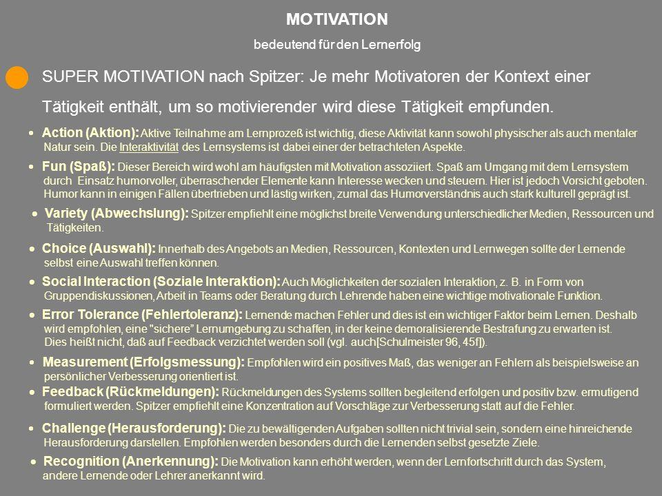 MOTIVATION bedeutend für den Lernerfolg SUPER MOTIVATION nach Spitzer: Je mehr Motivatoren der Kontext einer Tätigkeit enthält, um so motivierender wi