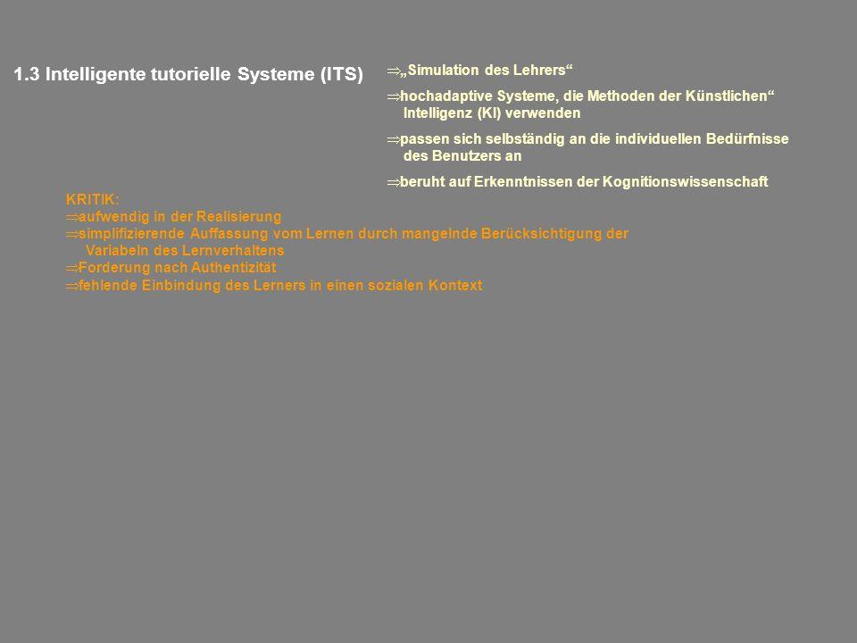 1.3 Intelligente tutorielle Systeme (ITS) Simulation des Lehrers hochadaptive Systeme, die Methoden der Künstlichen Intelligenz (KI) verwenden passen