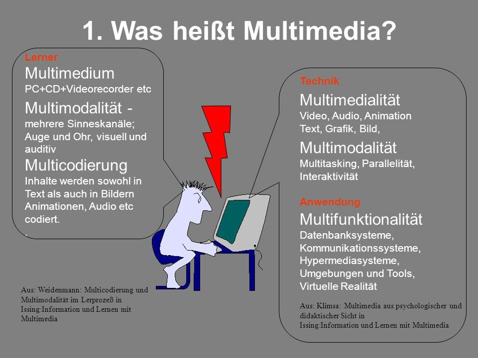 Technik Anwendung Multifunktionalität Datenbanksysteme, Kommunikationssysteme, Hypermediasysteme, Umgebungen und Tools, Virtuelle Realität 1. Was heiß