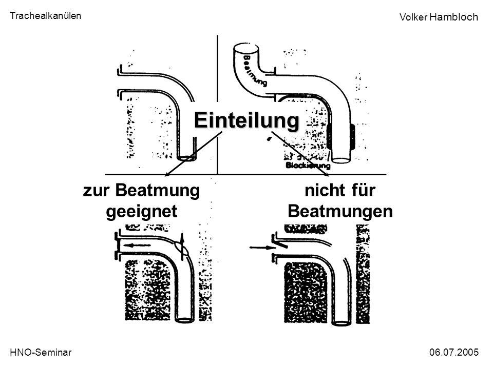 Trachealkanülen 06.07.2005HNO-Seminar Volker Hambloch zur Beatmung geeignet Einteilung nicht für Beatmungen