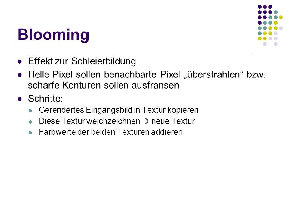 Blooming Effekt zur Schleierbildung Helle Pixel sollen benachbarte Pixel überstrahlen bzw.