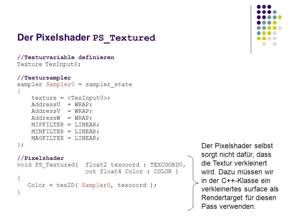 Der Pixelshader PS_Textured //Texturvariable definieren TextureTexInput0; //Textursampler sampler Sampler0 = sampler_state { texture = ; AddressU = WRAP; AddressV = WRAP; AddressW = WRAP; MIPFILTER = LINEAR; MINFILTER = LINEAR; MAGFILTER = LINEAR; }; //Pixelshader void PS_Textured( float2 texcoord : TEXCOORD0, out float4 Color : COLOR ) { Color = tex2D( Sampler0, texcoord ); } Der Pixelshader selbst sorgt nicht dafür, dass die Textur verkleinert wird.