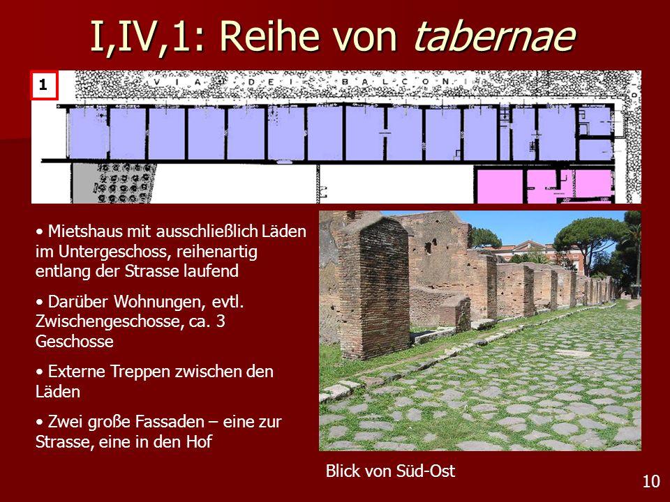 10 I,IV,1: Reihe von tabernae 1 Mietshaus mit ausschließlich Läden im Untergeschoss, reihenartig entlang der Strasse laufend Darüber Wohnungen, evtl.