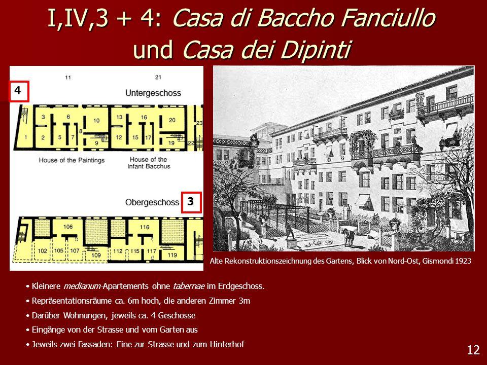 12 I,IV,3 + 4: Casa di Baccho Fanciullo und Casa dei Dipinti 3 Kleinere medianum-Apartements ohne tabernae im Erdgeschoss. Repräsentationsräume ca. 6m