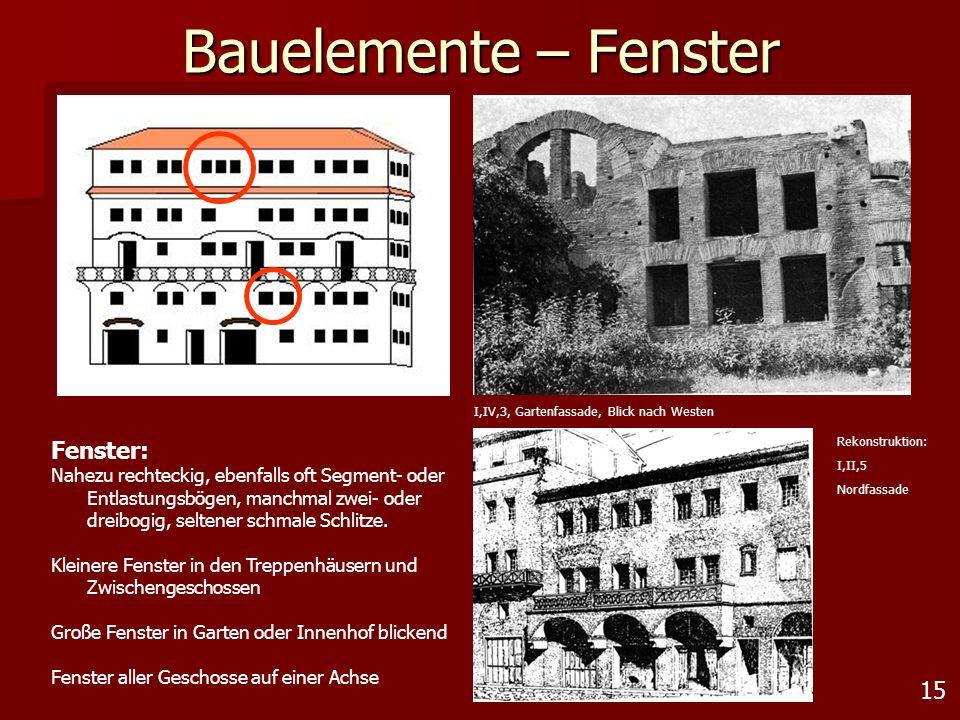 15 Bauelemente – Fenster Fenster: Nahezu rechteckig, ebenfalls oft Segment- oder Entlastungsbögen, manchmal zwei- oder dreibogig, seltener schmale Sch