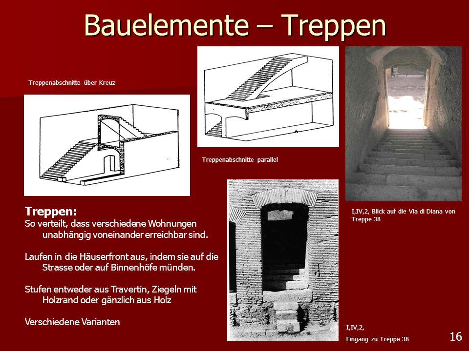16 Bauelemente – Treppen Treppen: So verteilt, dass verschiedene Wohnungen unabhängig voneinander erreichbar sind. Laufen in die Häuserfront aus, inde