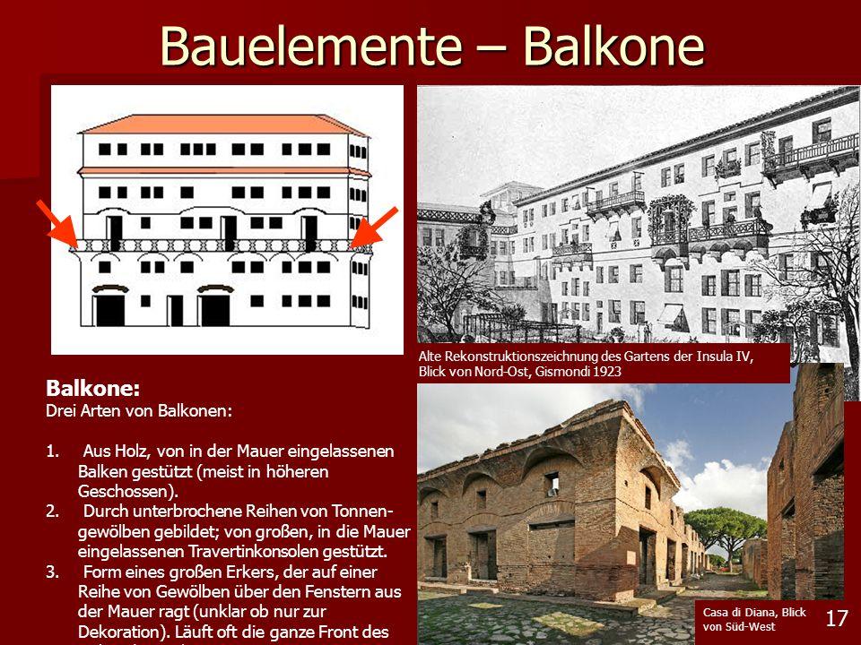 17 Bauelemente – Balkone Alte Rekonstruktionszeichnung des Gartens der Insula IV, Blick von Nord-Ost, Gismondi 1923 Casa di Diana, Blick von Süd-West
