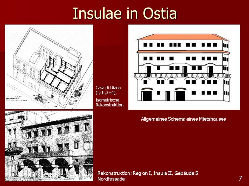 7 Insulae in Ostia Allgemeines Schema eines Mietshauses Rekonstruktion: Region I, Insula II, Gebäude 5 Nordfassade Casa di Diana (I,III,3+4), Isometri
