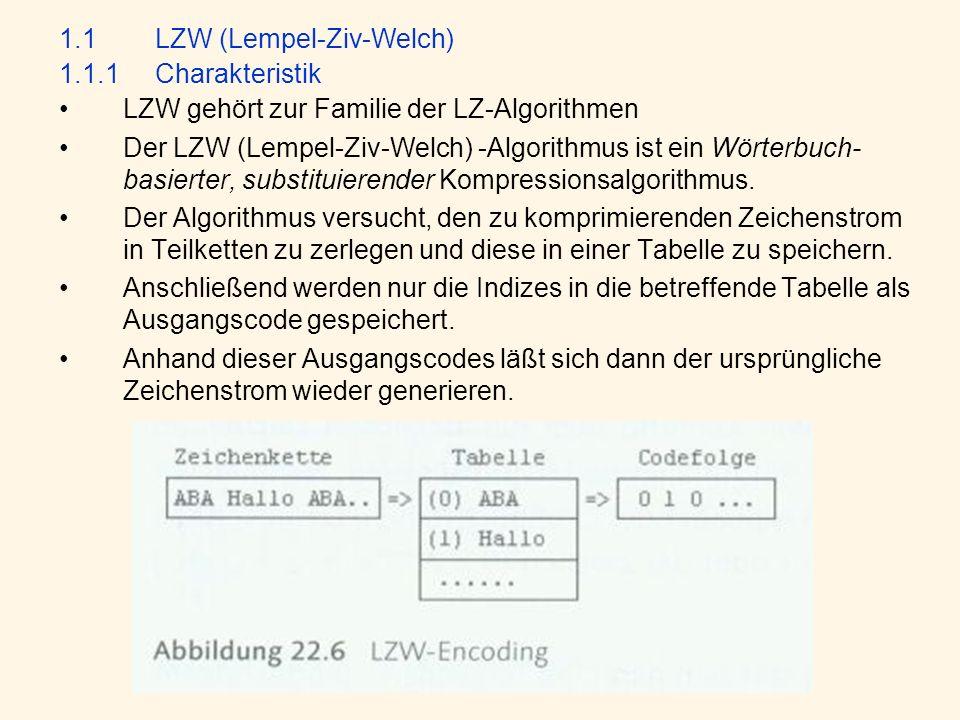 1.1LZW (Lempel-Ziv-Welch) 1.1.1Charakteristik LZW gehört zur Familie der LZ-Algorithmen Der LZW (Lempel-Ziv-Welch) -Algorithmus ist ein Wörterbuch- basierter, substituierender Kompressionsalgorithmus.