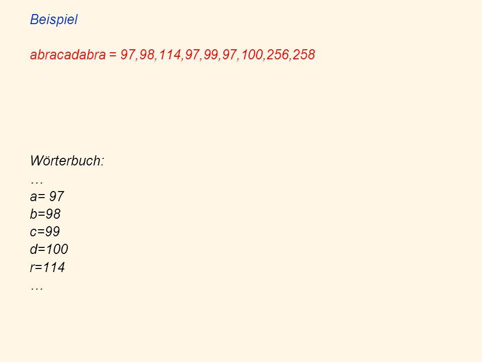 Beispiel abracadabra = 97,98,114,97,99,97,100,256,258 Wörterbuch: … a= 97 b=98 c=99 d=100 r=114 …