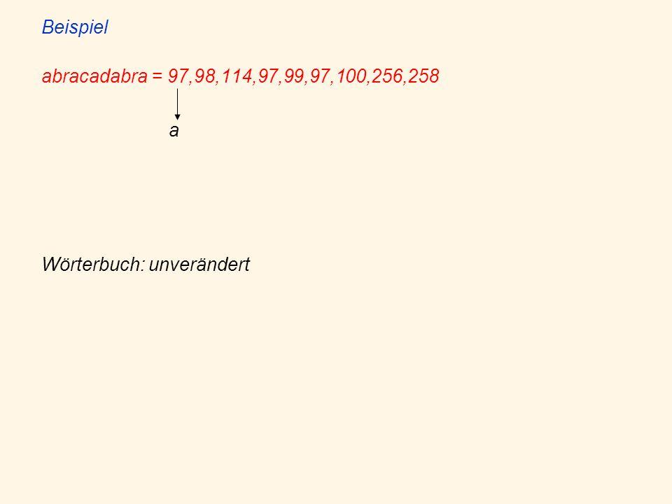 Beispiel abracadabra = 97,98,114,97,99,97,100,256,258 a Wörterbuch: unverändert
