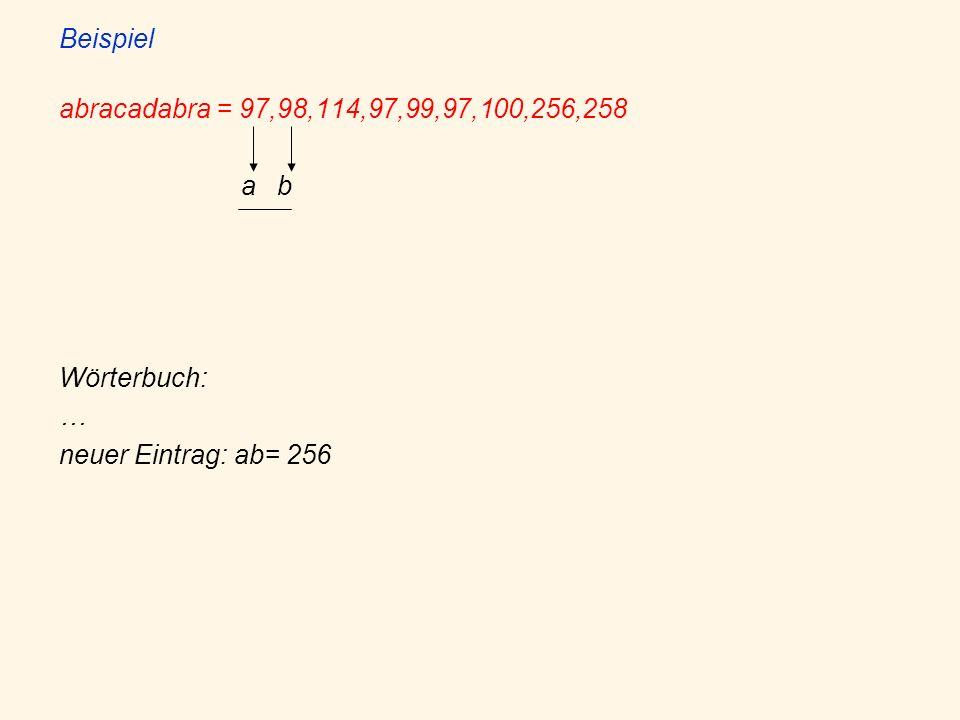 Beispiel abracadabra = 97,98,114,97,99,97,100,256,258 a b Wörterbuch: … neuer Eintrag: ab= 256