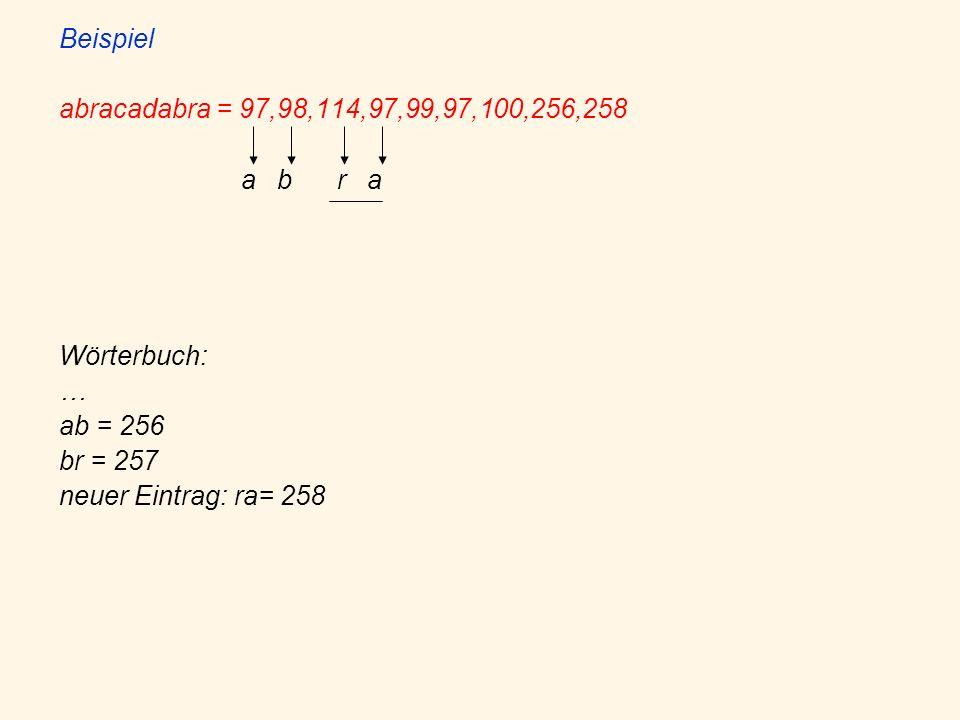 Beispiel abracadabra = 97,98,114,97,99,97,100,256,258 a b r a Wörterbuch: … ab = 256 br = 257 neuer Eintrag: ra= 258