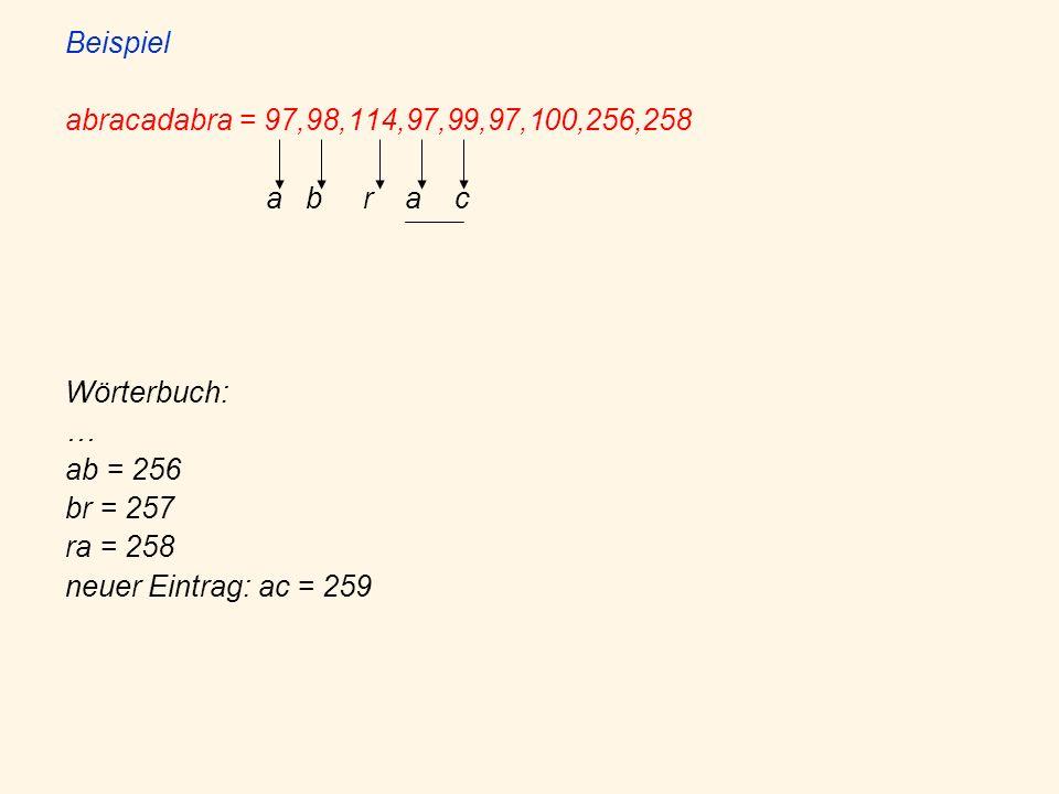 Beispiel abracadabra = 97,98,114,97,99,97,100,256,258 a b r a c Wörterbuch: … ab = 256 br = 257 ra = 258 neuer Eintrag: ac = 259