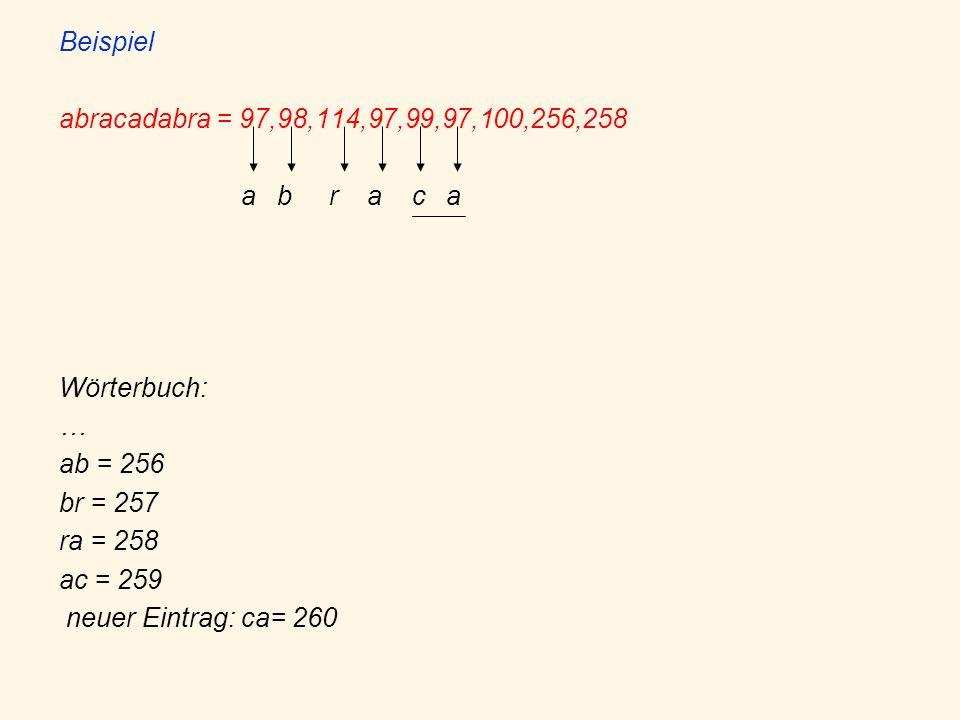 Beispiel abracadabra = 97,98,114,97,99,97,100,256,258 a b r a c a Wörterbuch: … ab = 256 br = 257 ra = 258 ac = 259 neuer Eintrag: ca= 260