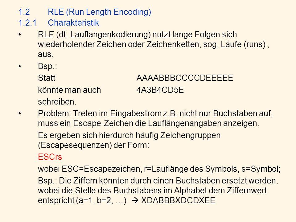 1.2RLE (Run Length Encoding) 1.2.1Charakteristik RLE (dt.