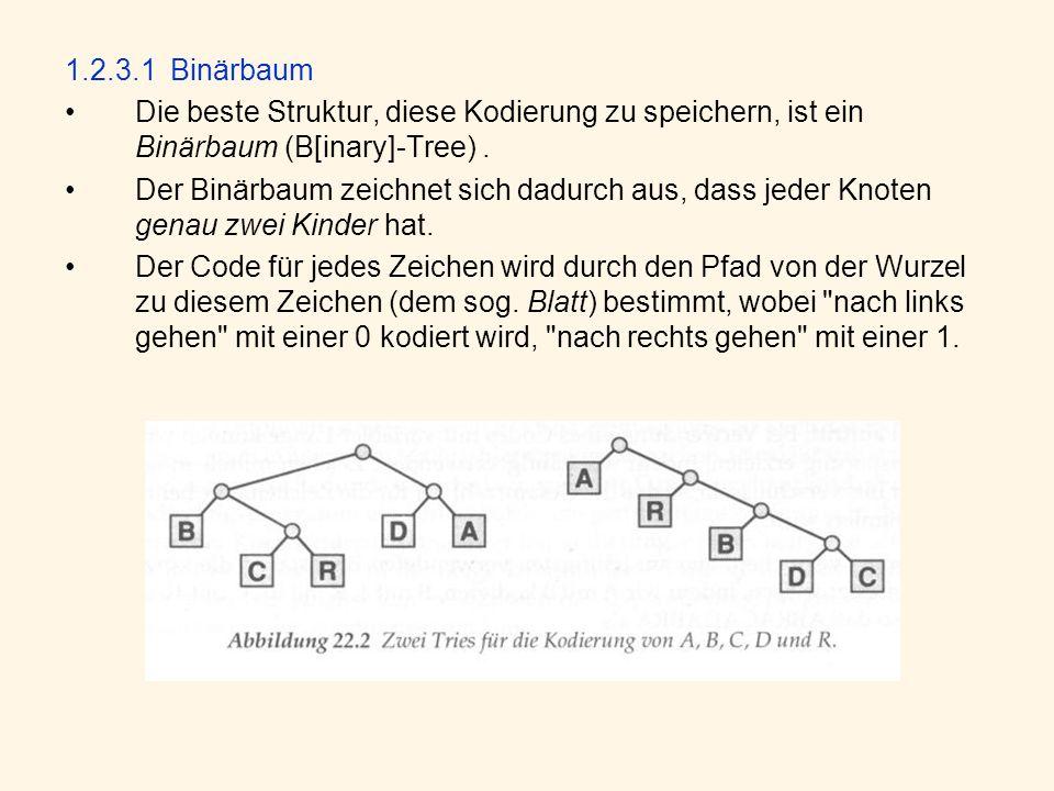 1.2.3.1Binärbaum Die beste Struktur, diese Kodierung zu speichern, ist ein Binärbaum (B[inary]-Tree).