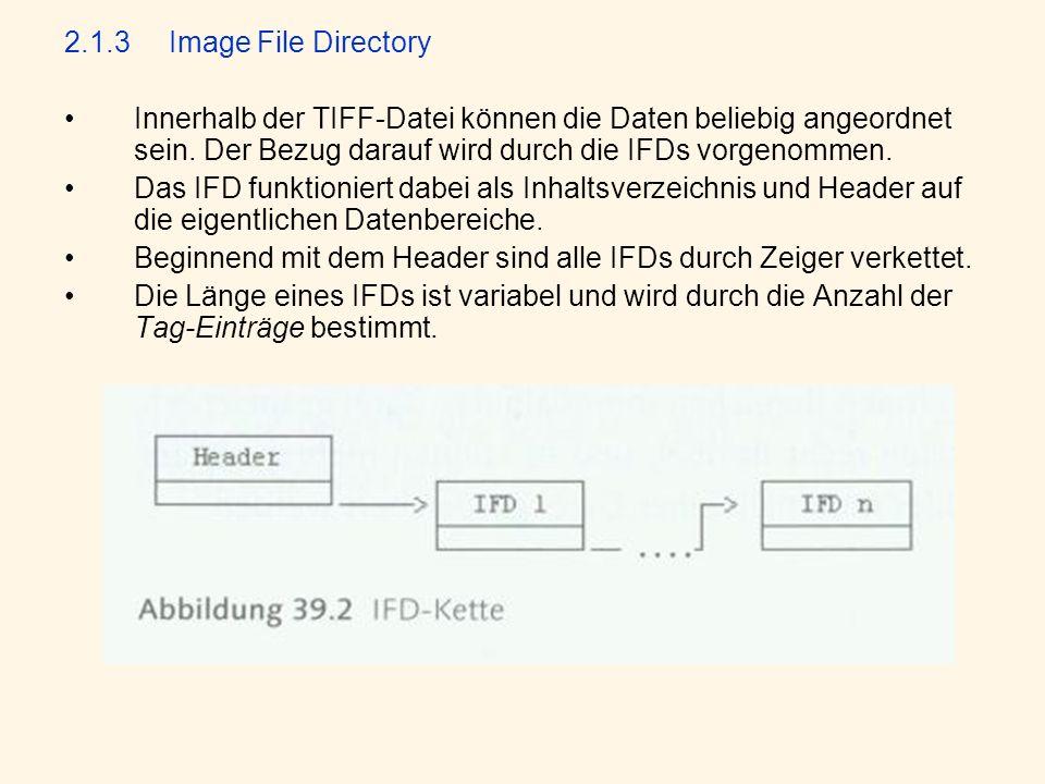 2.1.3Image File Directory Innerhalb der TIFF-Datei können die Daten beliebig angeordnet sein.