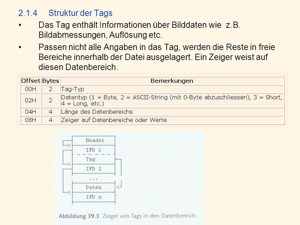 2.1.4Struktur der Tags Das Tag enthält Informationen über Bilddaten wie z.B.