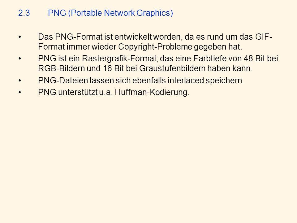 2.3PNG (Portable Network Graphics) Das PNG-Format ist entwickelt worden, da es rund um das GIF- Format immer wieder Copyright-Probleme gegeben hat.