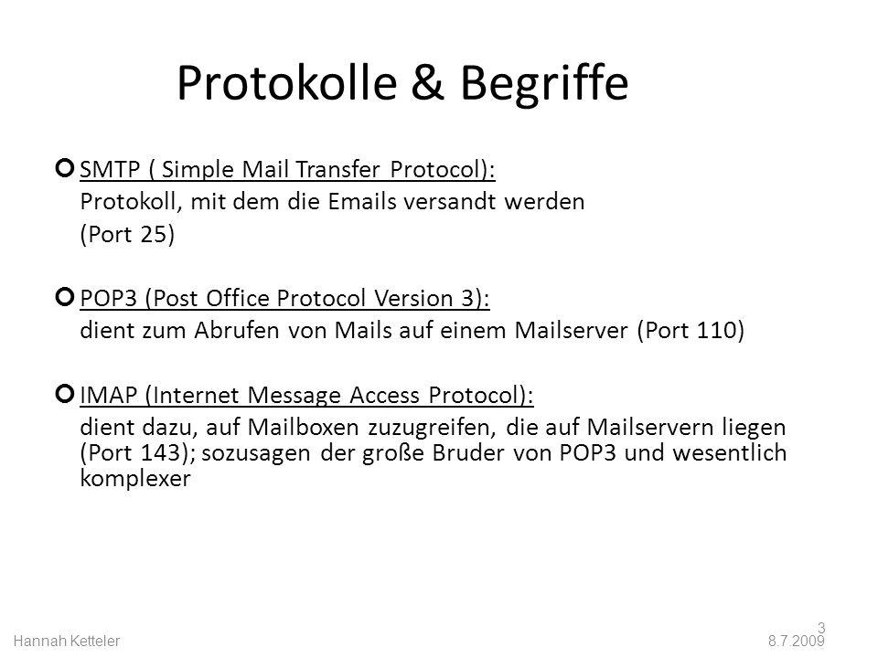 Funktionen In den meisten Mailservern arbeiten mehrere Dienste zusammen: MTA (Mail Transfer Agent): dieser Dienst übernimmt den kompletten Transport, dabei wird meist das SMTP-Protokoll verwendet MDA (Mail Delivery Agent): dieser Dienst legt die Mails in den verschiedenen Email-Postfächern ab MRA (Mail Retrieval Agent): dieser Dienst ermöglicht es, dass die gespeicherten Mails vom Mailserver von einem Email-Programm heruntergeladen werden können.