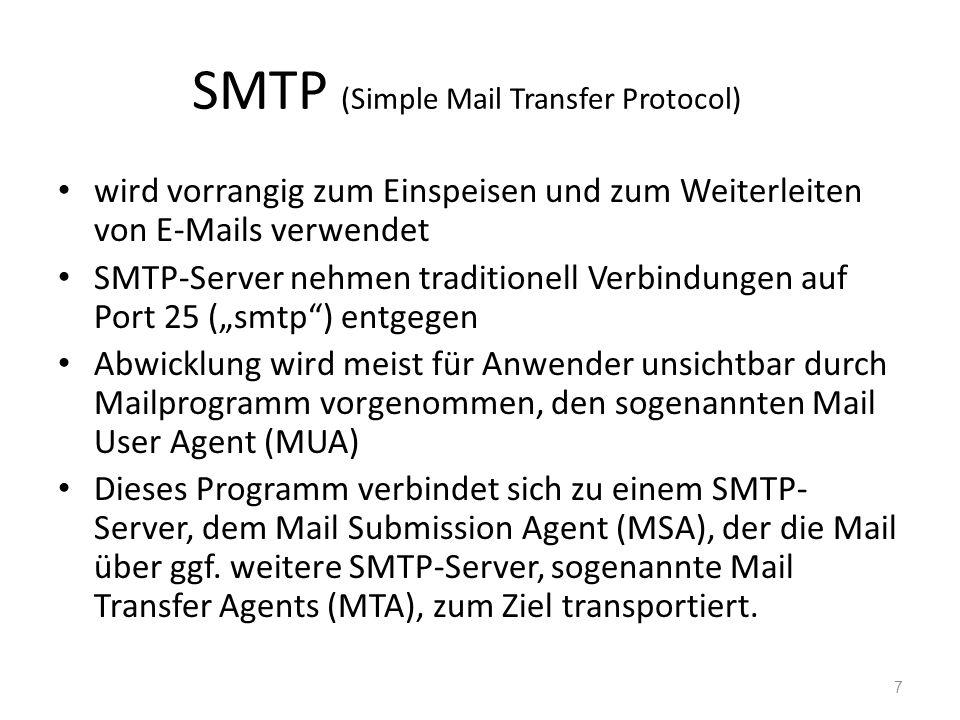 SMTP (Simple Mail Transfer Protocol) wird vorrangig zum Einspeisen und zum Weiterleiten von E-Mails verwendet SMTP-Server nehmen traditionell Verbindu