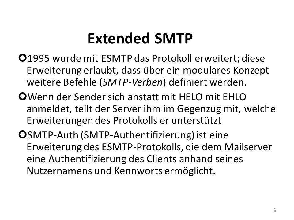 Extended SMTP 1995 wurde mit ESMTP das Protokoll erweitert; diese Erweiterung erlaubt, dass über ein modulares Konzept weitere Befehle (SMTP-Verben) d