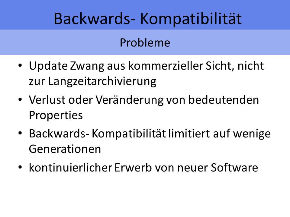 Probleme Backwards- Kompatibilität Update Zwang aus kommerzieller Sicht, nicht zur Langzeitarchivierung Verlust oder Veränderung von bedeutenden Properties Backwards- Kompatibilität limitiert auf wenige Generationen kontinuierlicher Erwerb von neuer Software