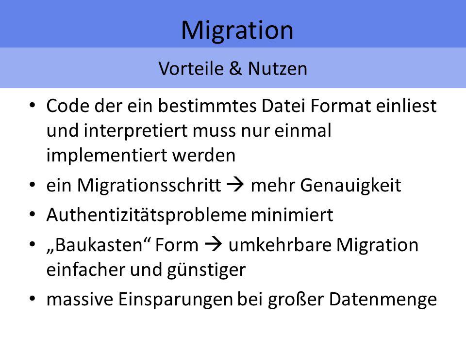 Vorteile & Nutzen Migration Code der ein bestimmtes Datei Format einliest und interpretiert muss nur einmal implementiert werden ein Migrationsschritt mehr Genauigkeit Authentizitätsprobleme minimiert Baukasten Form umkehrbare Migration einfacher und günstiger massive Einsparungen bei großer Datenmenge