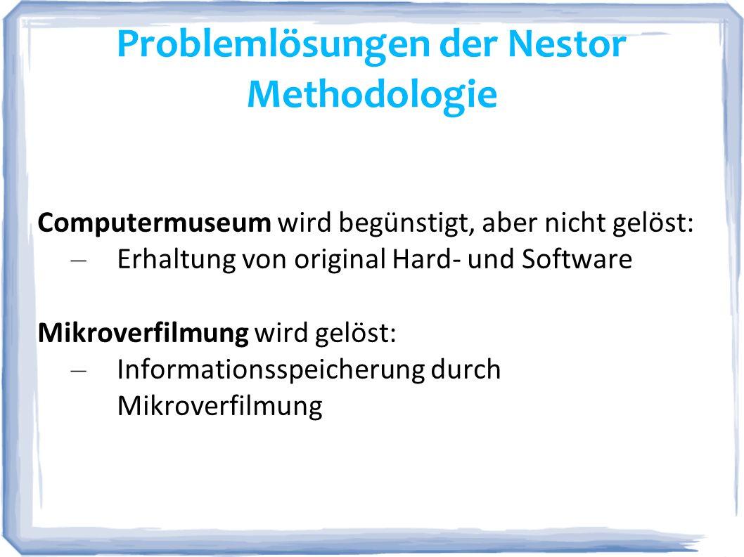 Problemlösungen der Nestor Methodologie Computermuseum wird begünstigt, aber nicht gelöst: – Erhaltung von original Hard- und Software Mikroverfilmung