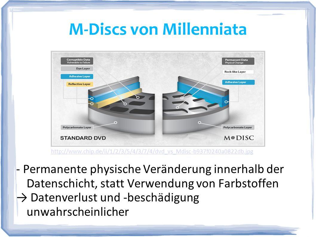 M-Discs von Millenniata http://www.chip.de/ii/1/2/3/5/4/3/7/4/dvd_vs_Mdisc-b937f0240a0822db.jpg - Permanente physische Veränderung innerhalb der Daten