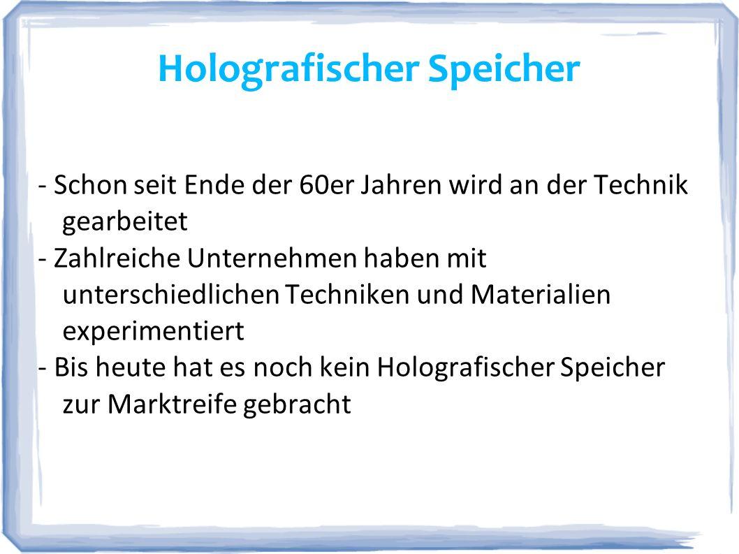 Holografischer Speicher http://www.documanager.de/magazin/pic/magazin_2092_01.png - Nutzt zwei Laserstrahlen und Änderungen des Einstrahlwinkels, um Daten dreidimensional auf einem Datenträger zu speichern