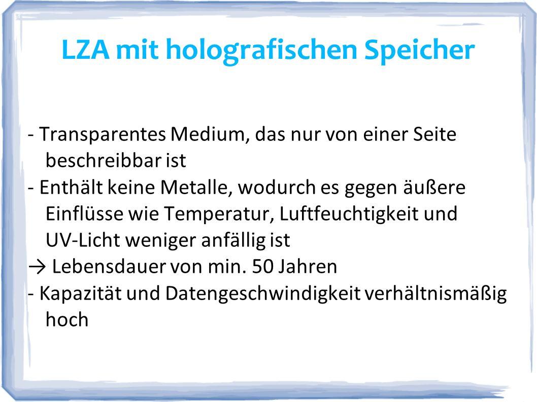 LZA mit holografischen Speicher - Transparentes Medium, das nur von einer Seite beschreibbar ist - Enthält keine Metalle, wodurch es gegen äußere Einf