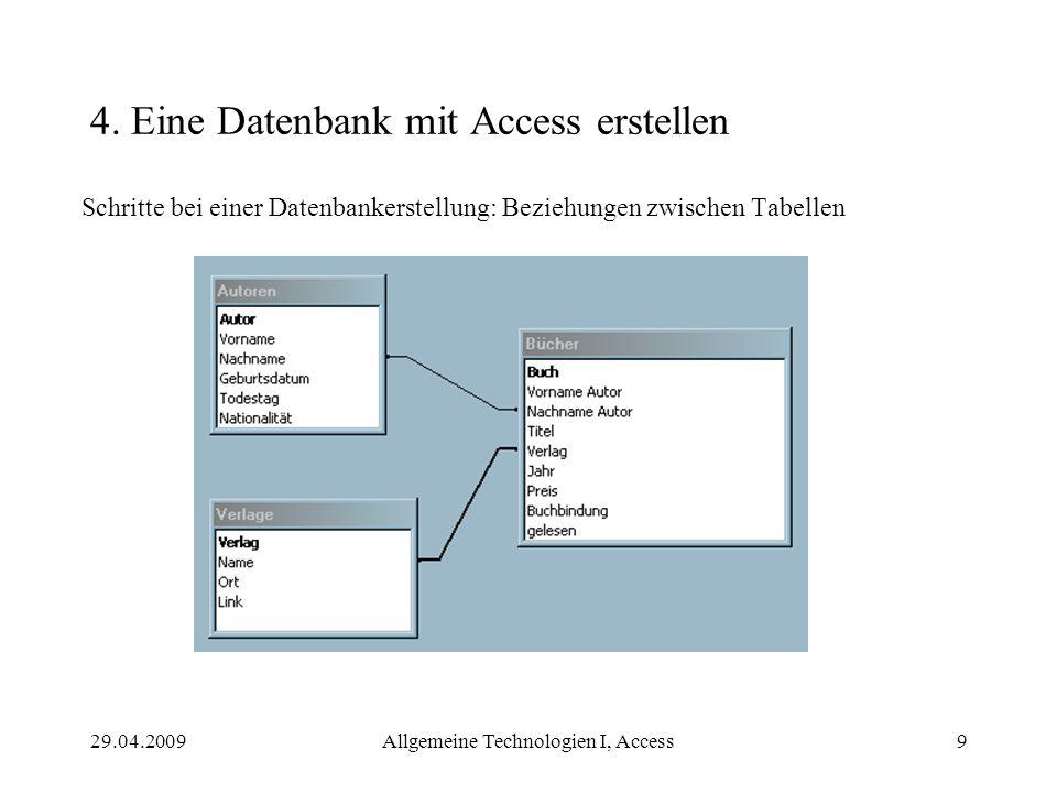 29.04.2009Allgemeine Technologien I, Access9 4. Eine Datenbank mit Access erstellen Schritte bei einer Datenbankerstellung: Beziehungen zwischen Tabel