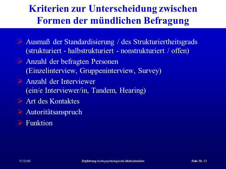 17.12.02Einführung in die psychologische MethodenlehreFolie Nr.