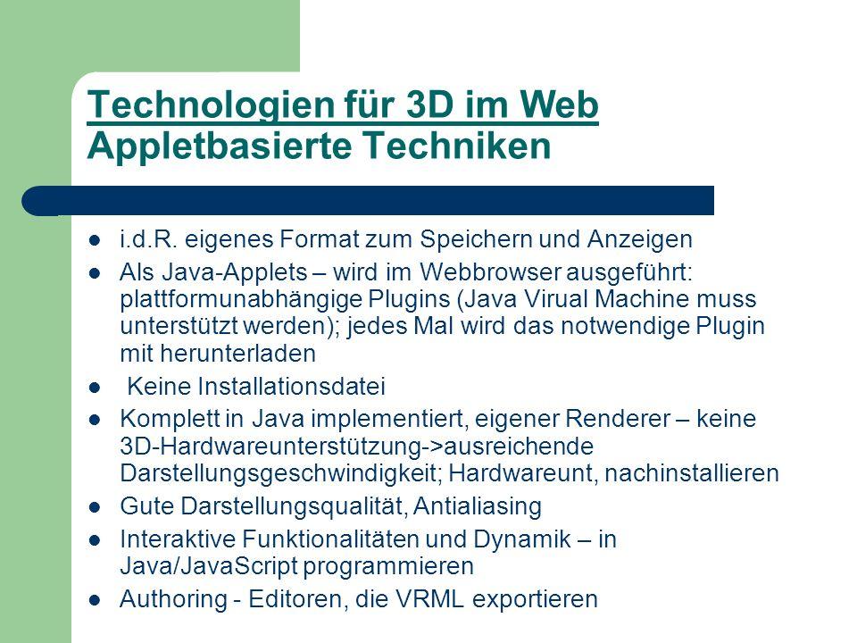 Technologien für 3D im Web Appletbasierte Techniken i.d.R.