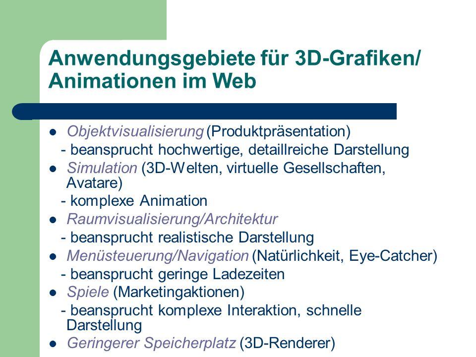 Anwendungsgebiete für 3D-Grafiken/ Animationen im Web Objektvisualisierung (Produktpräsentation) - beansprucht hochwertige, detaillreiche Darstellung Simulation (3D-Welten, virtuelle Gesellschaften, Avatare) - komplexe Animation Raumvisualisierung/Architektur - beansprucht realistische Darstellung Menüsteuerung/Navigation (Natürlichkeit, Eye-Catcher) - beansprucht geringe Ladezeiten Spiele (Marketingaktionen) - beansprucht komplexe Interaktion, schnelle Darstellung Geringerer Speicherplatz (3D-Renderer)
