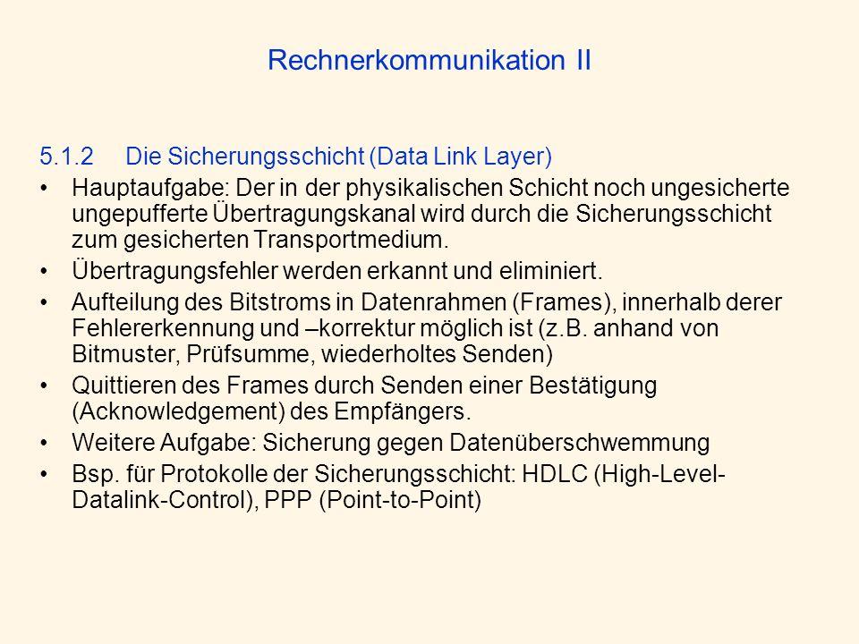 Rechnerkommunikation II 5.1.2 Die Sicherungsschicht (Data Link Layer) Hauptaufgabe: Der in der physikalischen Schicht noch ungesicherte ungepufferte Ü