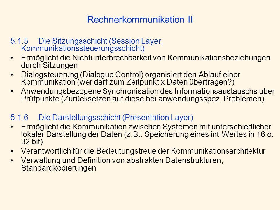Rechnerkommunikation II 5.1.5 Die Sitzungsschicht (Session Layer, Kommunikationssteuerungsschicht) Ermöglicht die Nichtunterbrechbarkeit von Kommunika