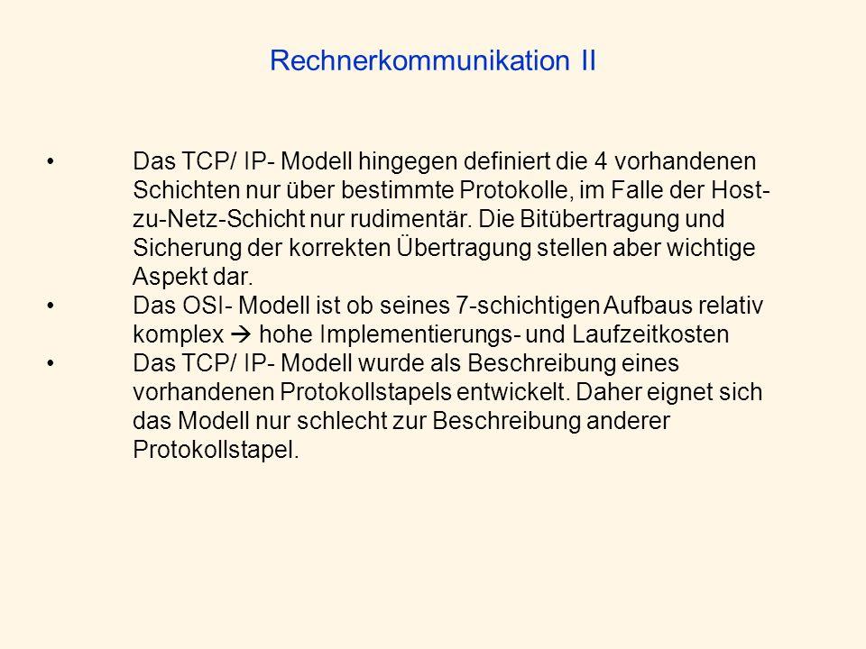 Rechnerkommunikation II Das TCP/ IP- Modell hingegen definiert die 4 vorhandenen Schichten nur über bestimmte Protokolle, im Falle der Host- zu-Netz-S