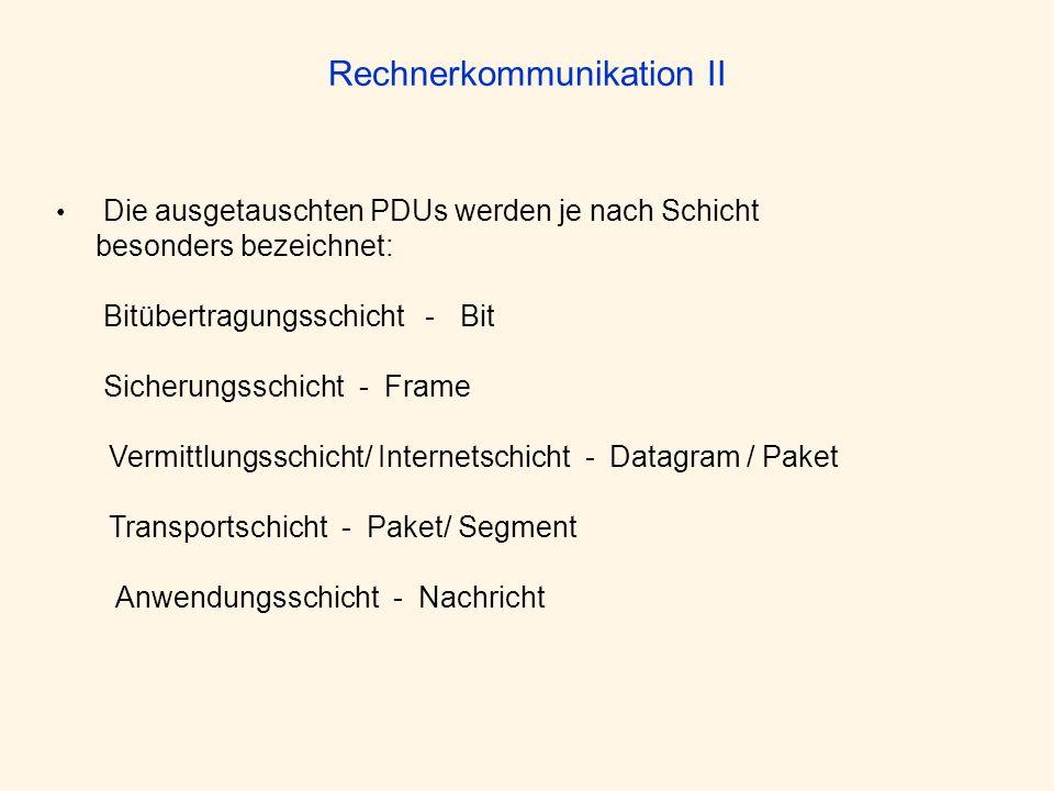 Rechnerkommunikation II Die ausgetauschten PDUs werden je nach Schicht besonders bezeichnet: Bitübertragungsschicht - Bit Sicherungsschicht - Frame Ve
