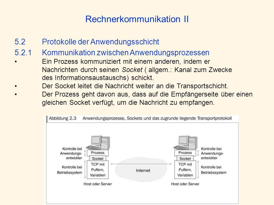 Rechnerkommunikation II 5.2 Protokolle der Anwendungsschicht 5.2.1Kommunikation zwischen Anwendungsprozessen Ein Prozess kommuniziert mit einem andere
